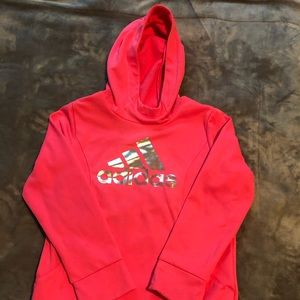 Hot Pink Girls Adidas Hoodie.  Size small 7/8.